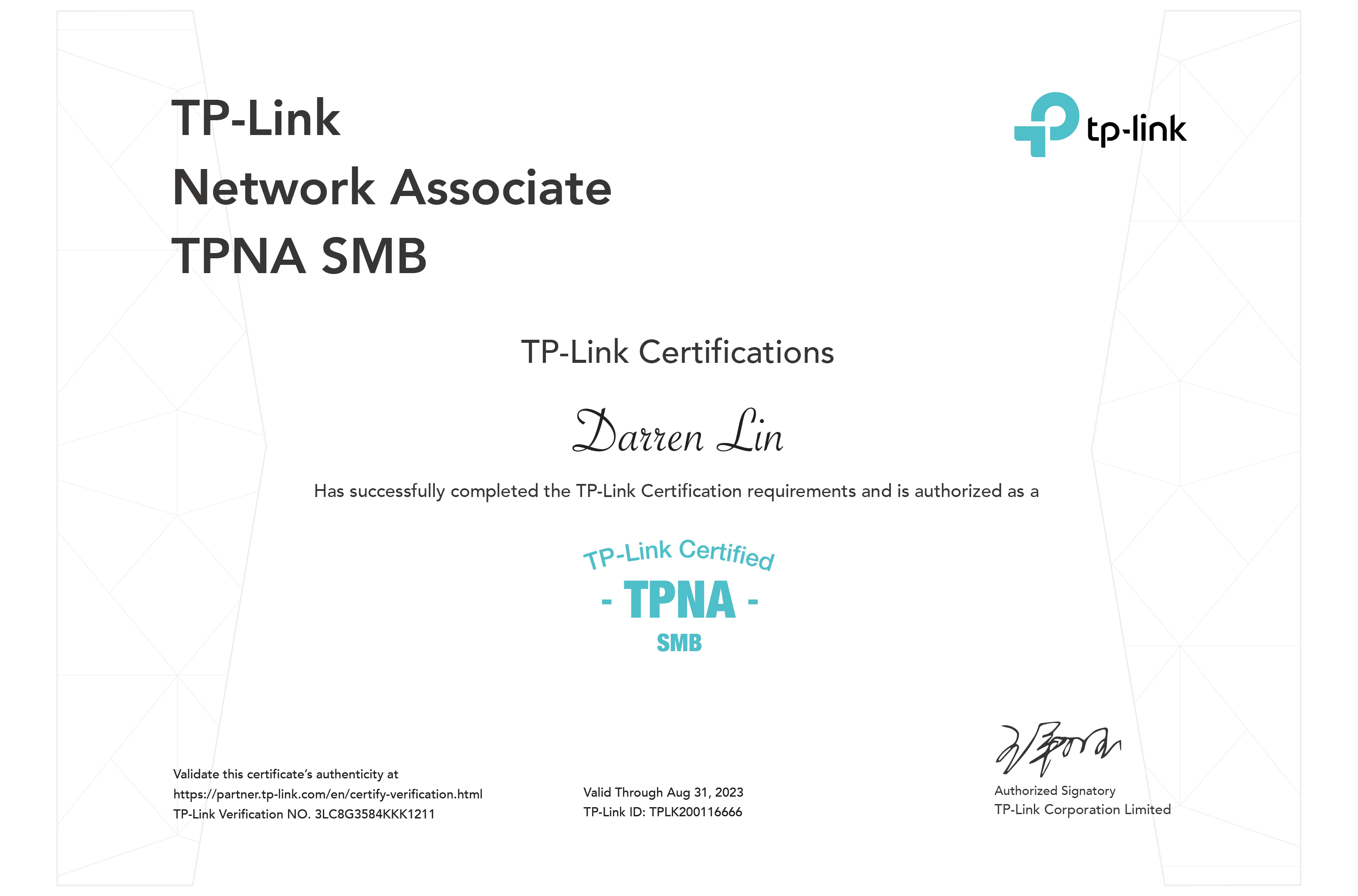 Apply for certification examination after you pass the certification exam you will be awarded corresponding tp link certificate shown as below xflitez Images
